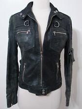 Vintage Motorcycle Jacket GAUDI Black Leather Zip Front 40 Italy