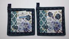 Set of 2 Kay Dee INDIGOLD Cotton Potholders Indigo Blue