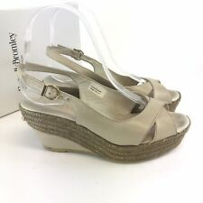 Russell & Bromley Candy Girl Taupe Leather Slingback Wedges Sandals UK3 RRP £125