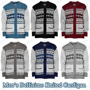 Men's Aztec Pattern Knitted Warm Cardigan Zip Up Closure with Pockets Size S-2XL