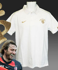 NUOVE NIKE TOULOUSE stile rugby cotone polo bianco e oro M