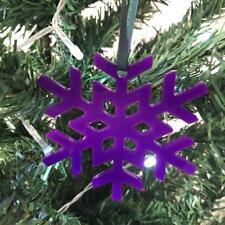 Purple Crystal Snowflake Christmas Tree Decorations & Green Ribbon x 10