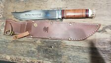 Winchester Bowie Knife with Leather Sheath WB 104 - Etched MADE IN USA