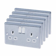 Pack of 5 13A 2-Gang SP Switched Plug Sockets  Polished Chrome