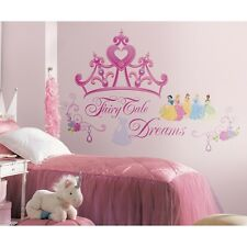 New DISNEY PRINCESS CROWN GiAnT WALL DECALS Girls Stickers Pink Bedroom Decor