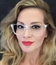 White Crystal Clear Translucent Square Celebrity Diva Frames Eye Glasses 8759 IT