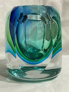 """VTG Murano Sommerso Blue Green Italian Art Glass Vase 4"""""""