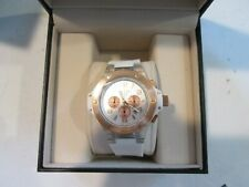 Mulco Women Titans Chronograph Clear Case White Silicone Watch NEEDS BATTERY NEW