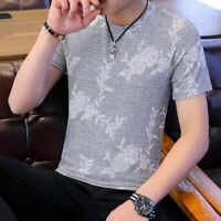 Men Summer T-shirts Crew Neck Printing Short Sleeve Korean Youth Tops Blouses Sz