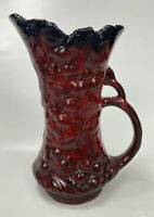 "VTG McCoy Pottery # 641 Red and Black Glaze Finish Grape Pitcher Vase 9.5"" EUC"
