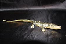 Small 10 Inch Brass Reptile Figure Crocodile or Alligator Paper Weight Ornament
