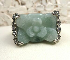 GORGEOUS JOY CARVED GREEN JADE AND INTRICATE STERLING SILVER RING SZ 7