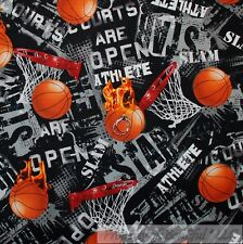 BonEful Fabric FQ Cotton Quilt Black Orange Basket*Ball Net Hoop B&W Letter Word