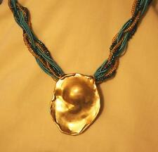 Lovely Teal & Gold Twist Cord Distressed Goldtone Crimped Oval Pendant Necklace