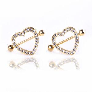 Gold Heart Double Layer Rhinestone Sexy Piercing Nipple Bars Body Jewelry UK