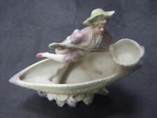 Antique Austrian /German Porcelain Bisque Boy Figurine in Boat 1900's