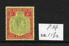 1939 Bermuda: 5s Arms Pale green & red/Yellow SG118a Perf 14 Unmounted Mint MNH