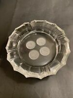 VINTAGE FOSTORIA CLEAR COIN GLASS 4 COIN CIGARETTE CIGAR ASHTRAY 8""