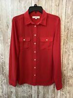 Ann Taylor LOFT Medium Red Button Front Long Sleeve Blouse Women's EUC