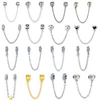 European 925 Sterling Silver Beads CZ Safety Chain Charms Fit Necklace Bracelet