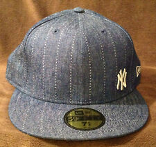 New York Yankees NEW ERA 59FIFTY Fitted Hat Blue Denim Size Mens 7 5/8