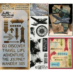 Travel Stamps & Stencil - Plane, Compass, Arrows & Traveler Stencil, Tim Holtz