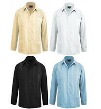 Guayabera Men's Latino Cuban Button-Up Long Sleeve Casual Wedding Dress Shirt