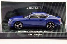 BENTLEY CONTINENTAL GT V8 2011 BLUE METALLIC MINICHAMPS 436139982 1/43 LHD BLAU