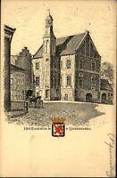 's Heerenberg Holland alte Postkarte ~1910/20 Partie am Rathaus Pferd Zeichnung