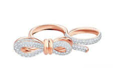 NEW Swarovski Crystal Lifelong Bow Ring Rose Gold 5474926 Size 52+55 $169