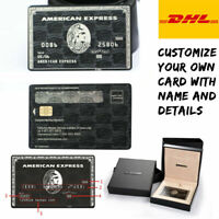 American Express Centurion Card Customized Metal AMEX Black Card w chip box Gift