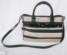 Kate Spade Villabella Quinn Ladies Purse Black Patent Leather Bow Striped Fabric