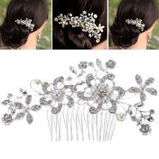 Rhinestone Pearl Flower Hair Comb Alloy Jewelry Wedding Bridal Hair Decoration
