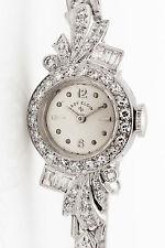Antique 1950s $6000 1.50ct VS G Diamond LADY ELGIN Platinum Ladies Watch