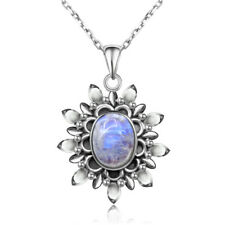 Vintage 925 Silver Natural Moonstone Pendant Necklace Antique Jewelry Wholesale