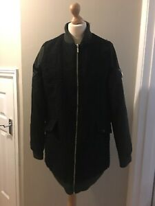Next Ladies Black Coat With Khaki Arms,Size 12 Tall, Good Condition