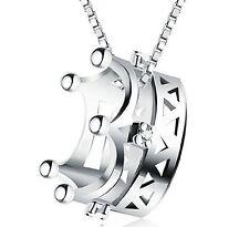 086 Damen Halskette mit Krone Anhänger Zirkonia 925 Silber Pl  NEU