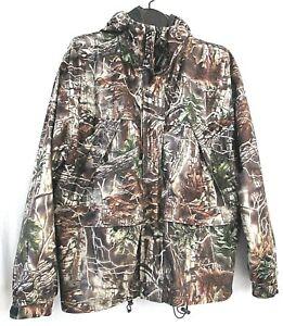 Camo jacket windbreaker L brown hood zip snap mesh lining WFS Element Gear coat