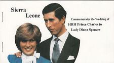 (32961) SIERRA LEONE Principessa Diana WEDDING TIMBRO BLOCCHETTO