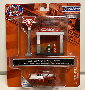 Mini Metals HO Scale Conoco 1955 Chevy Tow Truck With Gas Pumps & Sign #40009