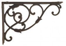"Decorative Cast Iron Wall Shelf Bracket Brace Ornate Vine Rust Brown 13.5"" D"