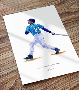 Ken Griffey Jr Seattle Mariners Illustrated Baseball Print Poster Art