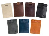 Mens Leather Wallet Card holder Slim Minimalist with RFID Blocking Cardholder