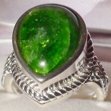 SUPERIOR! NATURAL CHROME DIOPSIDE 12.50 ct RING,925 STERLING SILVER.SIZE 7,25.