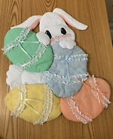 Handcrafted Easter Bunny with Eggs Wall Hanging or Door Decoration