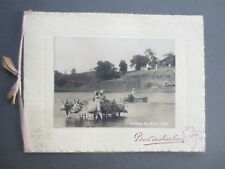 VINTAGE Christmas Card 1935 INDIA Fording the River Oxen Cart Real Photograph