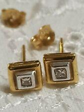 Genuine Diamond Earrings solid Gold 18k Unique Fine jewelry Gift .10 ct Handmade