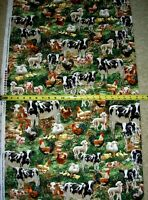 Cows Chickens Pigs Ducks Sheep allover 8336 Timeless Durable Cotton Fabric