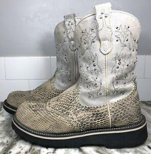 Ariat Womens 8B Fatbaby Gator Print Studded Leather Western Cowboy Boots. EUC