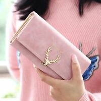 Cute Deer Women Wallet Long Leather w/ Purse Folding Wallets Clutch Card Holder